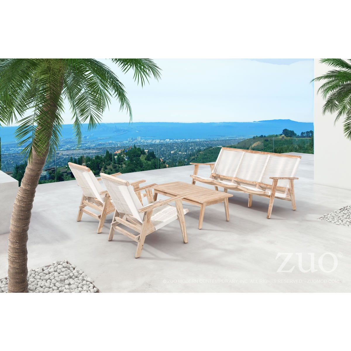 Zuo Modern West Port Outdoor Coffee Table In White Wash Teak W/ Slat Top