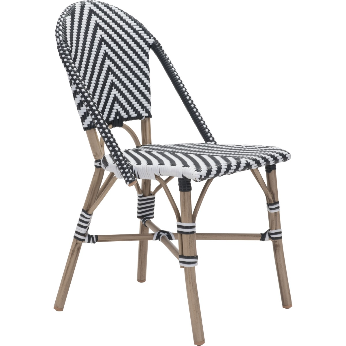 Zuo Modern Furniture 703805 Paris Outdoor Dining Chair In Black U0026 White  Poly Weave On Synthetic Bamboo Frame (Set Of 2)
