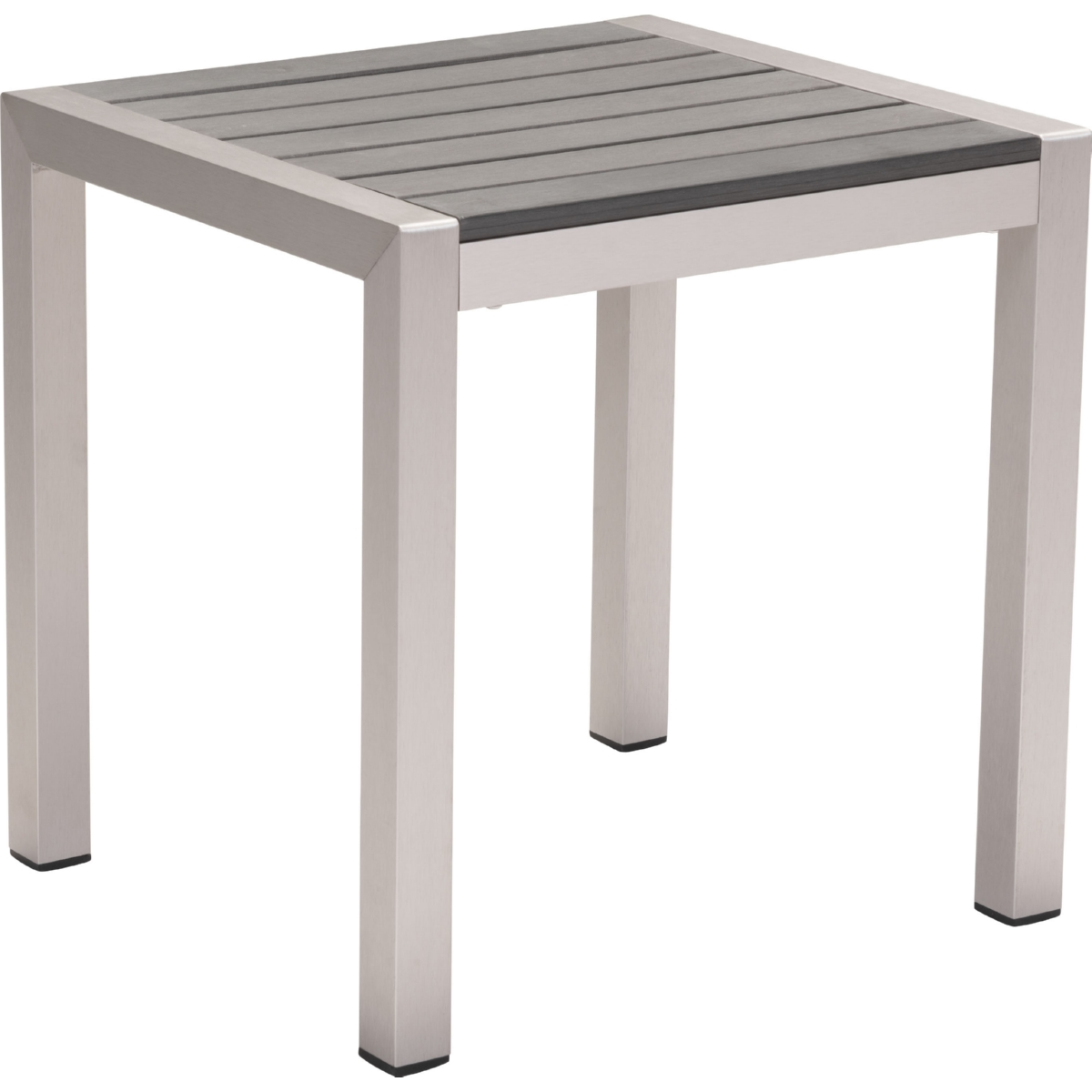 outdoor side table w slatted polywood top on brushed aluminum