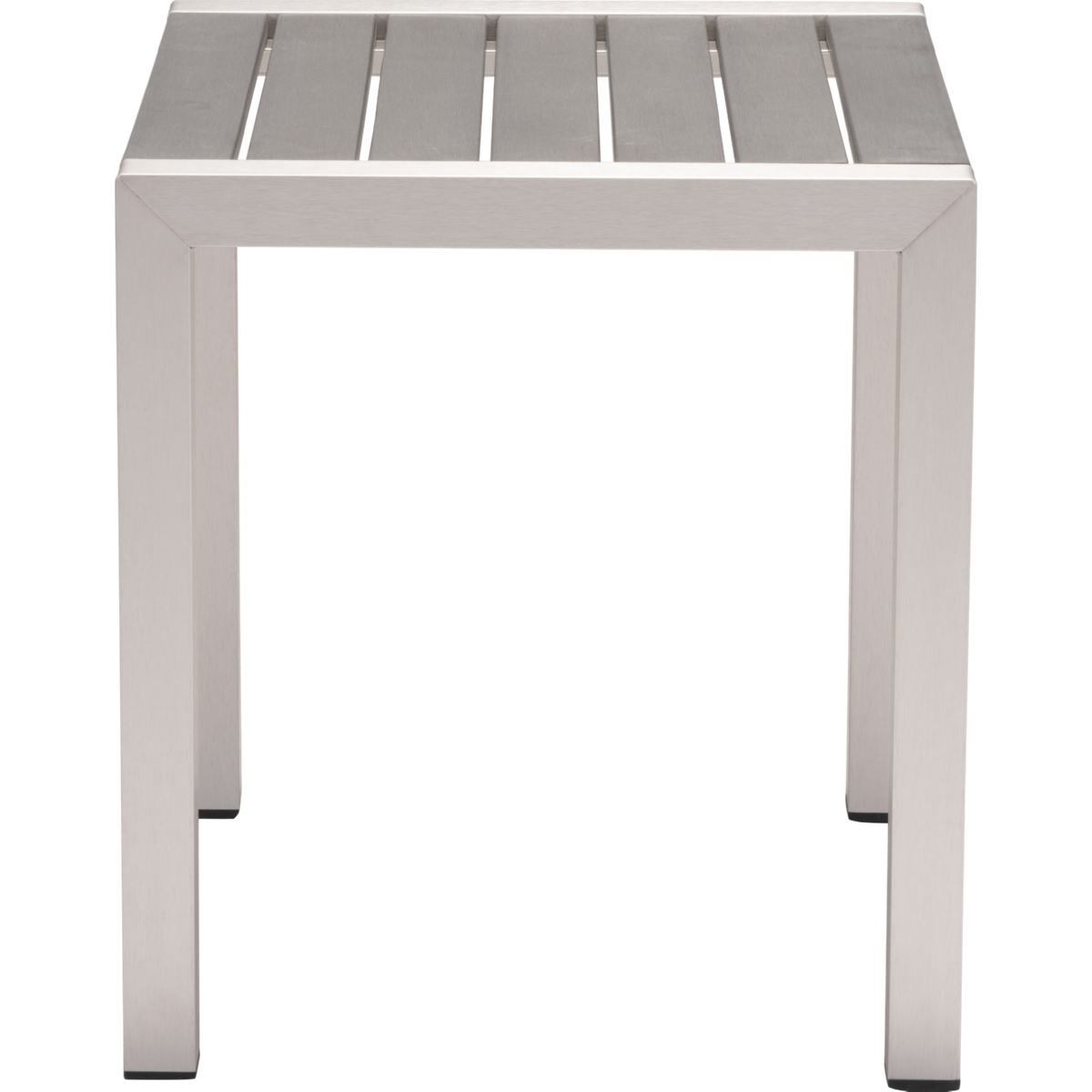 Cosmopolitan Outdoor Side Table W/ Slatted Polywood Top On Brushed Aluminum