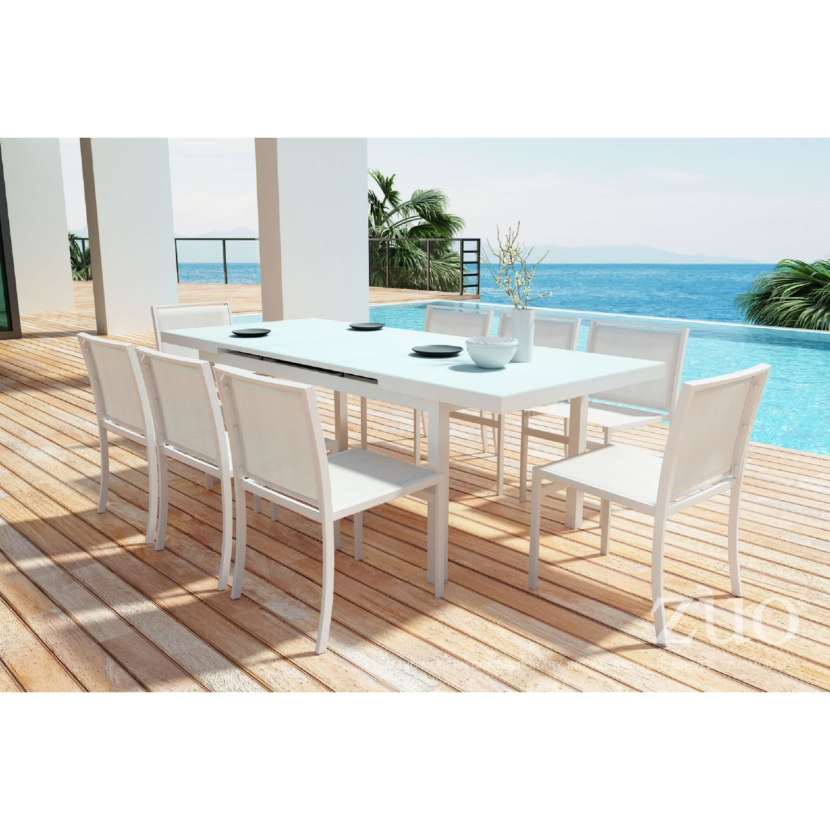 Zuo Modern  Mayakoba Extension Outdoor Dining Table In White - Aluminum dining table