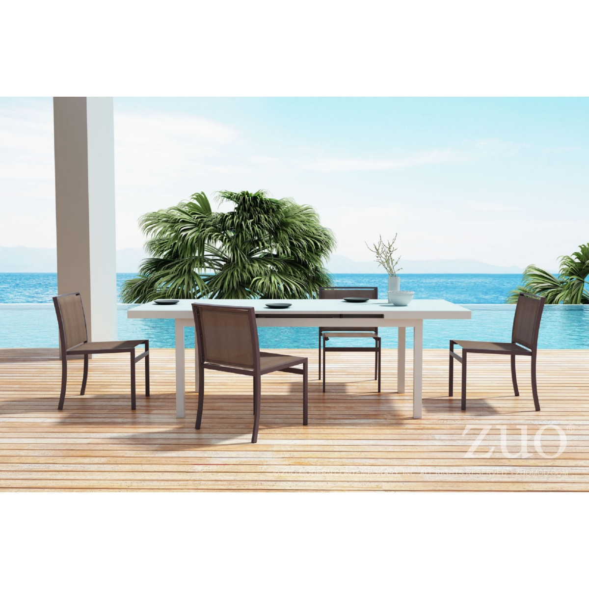 Aluminum Outdoor Dining Table Zuo Modern 703844 Mayakoba Extension Outdoor Dining Table In White