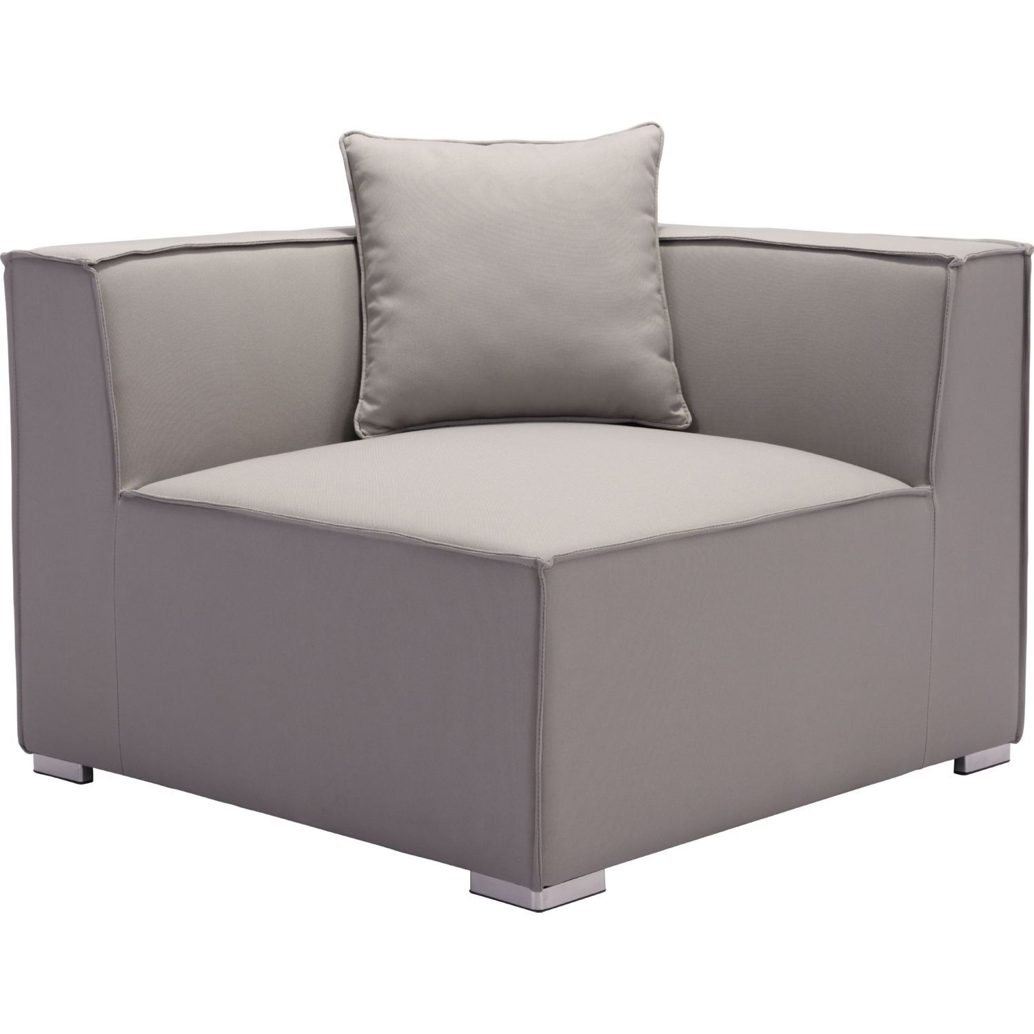 Zuo Modern Fiji Outdoor Corner Sectional Chair in Gray